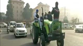 INLD MP Dushyant Chautala Rides a Tractor to Parliament: See Pics