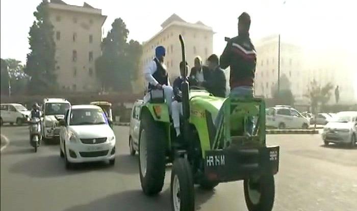 Lok Sabha MP Dushyant Chautala rides tractor to Parliament