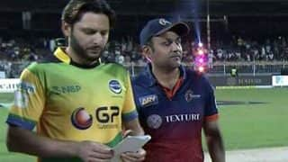 T10 Cricket League: Shahid Afridi Takes Tournament's First Hat-Trick, Virender Sehwag Among His Victims (Watch Video)