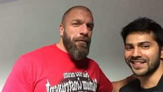 When Varun Dhawan Met WWE Legends Jinder Mahal And Triple H (Pic and Video)