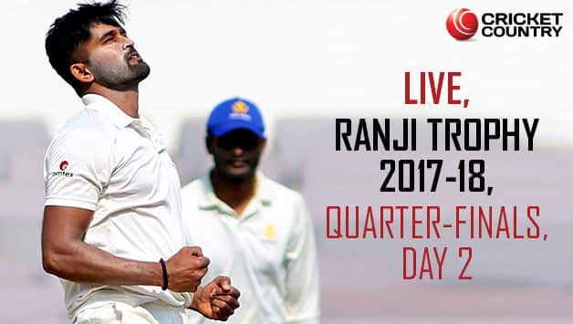 Live Cricket Scores, Ranji Trophy 2017-18, Quarter-Finals, Day 2