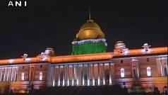 जगमगाती रोशनी से नहाया राष्ट्रपति भवन