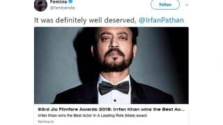Femina Tags The Wrong Irrfan in Filmfare Best Actor Tweet; Irfan Pathan's Cheeky Reply Will Leave You in Splits