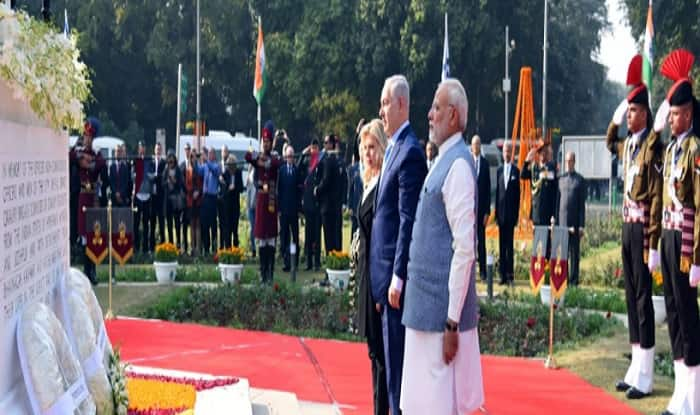 Israel PM Netanyahu and PM Modi lay wreath at Teen Murti