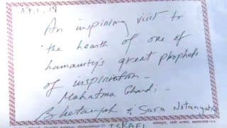 Israel PM Benjamin Netanyahu Visits Sabarmati Ashram, Spells Gandhi as 'Ghandi' in Visitors Book