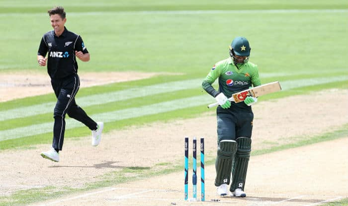 Trent Boult celebrates the dismissal of Fakhar Zaman New Zealand vs Pakistan | Getty Images