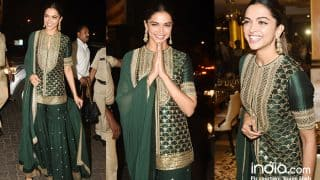 Deepika Padukone Looks Gorgeous In A Bottle Green And Gold Outfit As She Celebrates Padmaavat's Success At A Suburban Restaurant - View Pics