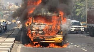 Mumbai: School Bus Catches Fire at Jay Coach Flyover on Western Express Highway, None Hurt
