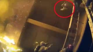 American Firefighter Catches Toddler Dropped From Balcony During Raging Fire (Video)