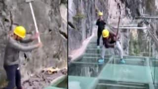 Workers Hit China's Glass Bridge With Sledgehammer During Safety Checks (Video)