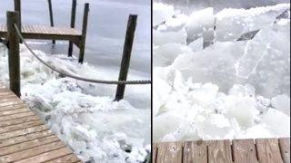 Viral Video Shows Rare Phenomenon of Waves of Ice Crashing Against Dock in North Carolina