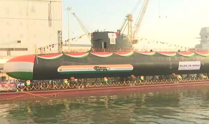 INS Karanj launched today at Mumbai's Mazagon Docks
