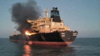 MT Genessa Oil Tanker Catches Fire Off Gujarat Coast, Crew Rescued - Watch Video