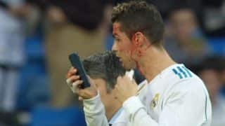 Cristiano Ronaldo Uses Mobile Phone to Inspect Face Injury, Immediately Walks off The Pitch