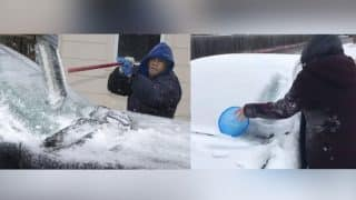 Texans Find Weird Ways to Scrape Ice From Car's Windshield, Videos Cracking People up on Social Media