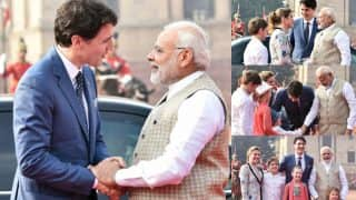 Canada PM Justin Trudeau gets Ceremonial Reception at Rashtrapati Bhavan, Pictures of Prime Minister Narendra Modi Meeting his Kids Goes Viral (See all Pics)