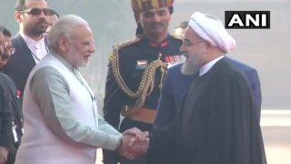 राष्ट्रपति भवन में ईरानी राष्ट्रपति का स्वागत, पीएम मोदी के साथ बातचीत शुरू