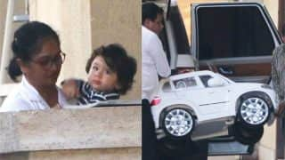 Taimur Ali Khan Looks Excited As His Car Gets Delivered At Aunt Amrita Arora Ladak's House - View Pics