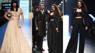 Lakme Fashion Week Day 3: Sonakshi Sinha, Karan Johar Exude Black Magic, While Kalki Koechlin Looks Radiant In Gold At LFW Day 3 (PICS)