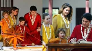 Canadian PM Justin Trudeau, Wife Sophie and Kids Visited Sabarmati Ashram in Indian Attire, Adorable Pictures Will Make you go aww