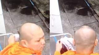 Thai Monk Caught on CCTV Stealing Women's Inner Wear from Clothesline (Video)