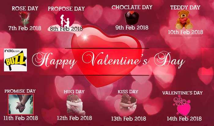 Valentine Week List 2018 Rose Day Propose Day Kiss Day Chocolate