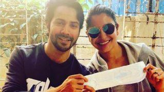 Padman Challenge : Sui Dhaaga Actors, Varun Dhawan And Anushka Sharma, Pose With A Sanitary Pad