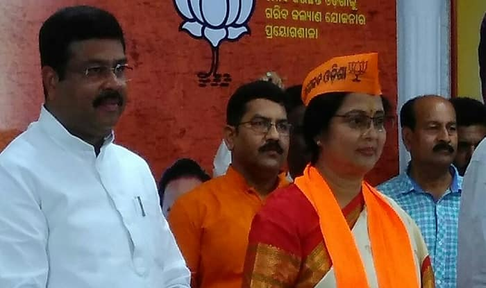 Actor Aparajita Mohanty joins BJP in the presence of Dharmendra Pradhan