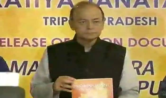 Arun Jaitley releases BJP's vision document for Tripura polls