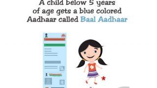 Blue-coloured Baal Aadhaar For Children Below Five Years of Age