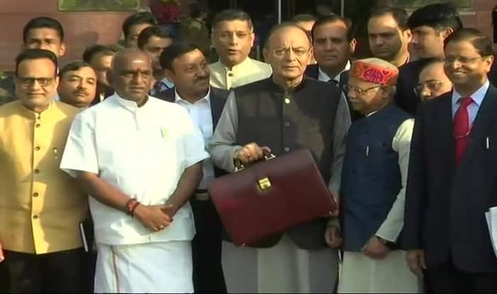 Arun Jaitley with his Budget 2018 team (ANI)