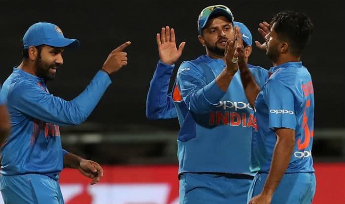 Indian players celebrate fall of JP Duminy's wicket during the 3rd T20I against South Africa   IANS