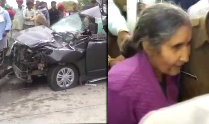 PM Modi's Wife Jashodaben escaped unhurt in a road accident in Rajasthan