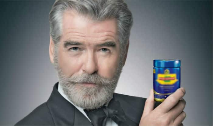 Pierce Brosnan featured in pan masala ad.