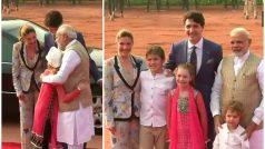 PM ने किया ट्रूडो फैमिली का स्वागतः बच्चों से किया नमस्ते, स्नेह से भरकर लगाया गले