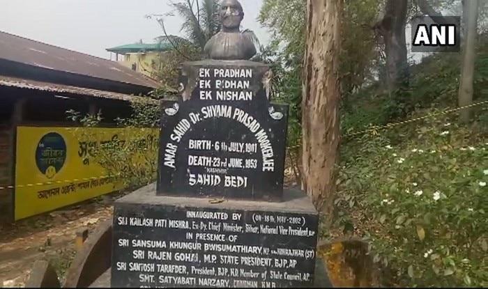 Damaged bust of Bharatiya Jana Sangh founder Syama Prasad Mukherjee