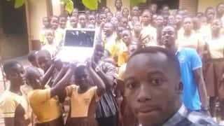 Richard Appiah Akoto: A Teacher Who Used Blackboard To Explain Microsoft Receives Laptops And Desktops From Donors