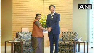 जापान के प्रधानमंत्री शिंजो आबे से मिलीं सुषमा स्वराज