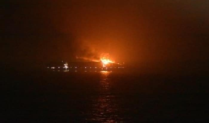 Maersk vessel catches fire in the Arabian Sea