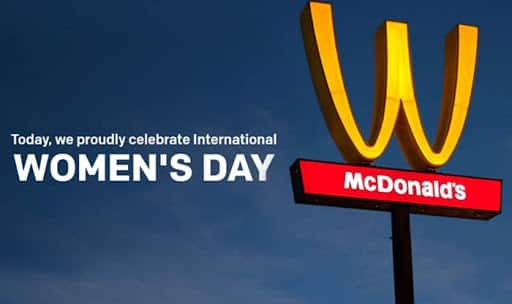 McDonald's flips its golden arches to celebrate women's day