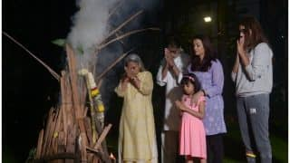 Aishwarya Rai Bachchan, Amitabh Bachchan, Aaradhya Burn Holika And Pray With The Family - See Pics