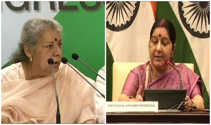 कांग्रेस की वरिष्ठ नेता अंबिका सोनी और विदेश मंत्री सुषमा स्वराज