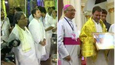 राहुल गांधी का कर्नाटक दौराः मंदिर में माथा टेका, चर्च की प्रेयर में हुए शामिल