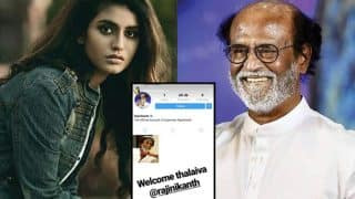Oru Adaar Love's Priya Prakash Varrier Welcomes Rajinikanth On Instagram