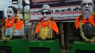 Tamil Nadu: Saffron Cloth Found Tied to Busts of CN Annadurai, MG Ramachandran And Thanthai Periyar in Namakkal