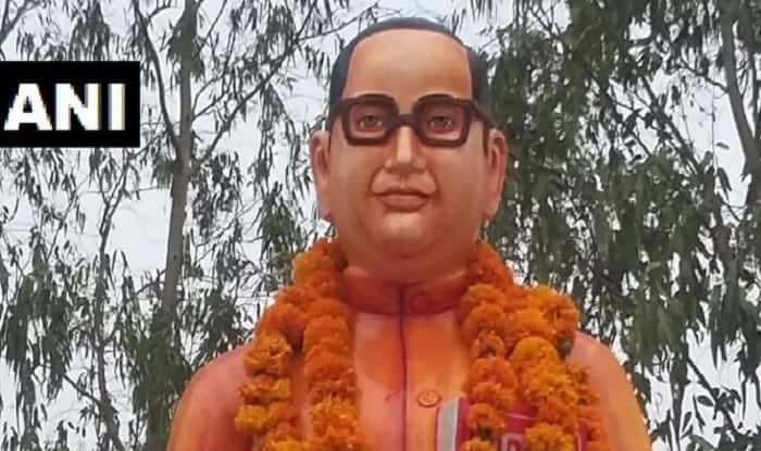 Saffron statue of Ambedkar in UP painted blue