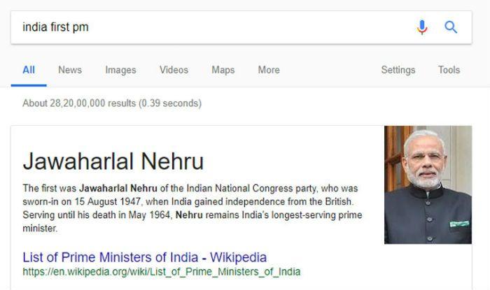 Google shows Narendra Modi as India's first PM, Congress cries foul