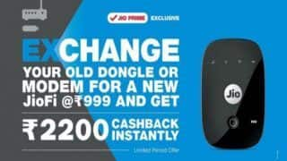 Reliance JioFi Exchange Offer:  Buy JioFi Device For Rs 999, Get Instant Cashback of Rs 2000; Here's How
