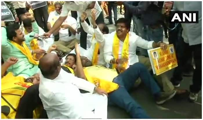 TDP MPs protest