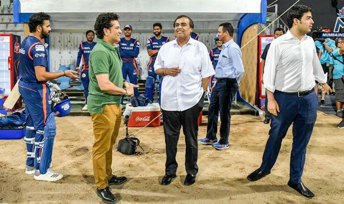 File picture of Sachin Tendulkar, Mukesh Ambani, Akash Ambani, Rohit Sharma. (Mumbai Indians)